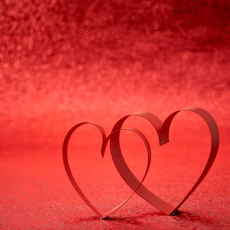 ribbon heart: Red Ribbon Heart, red background