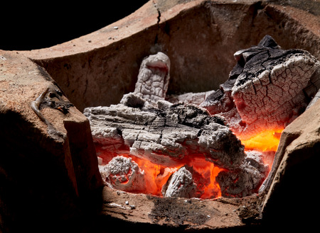 blur,burning charcoal in old stove, thailand tradition Stock Photo