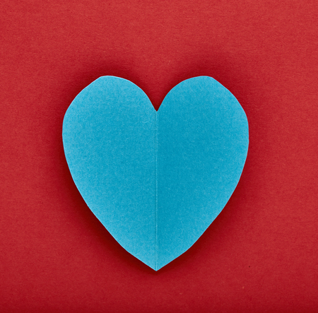 paper heart: paper heart, Blue and red background