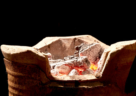 brazier: burning charcoal in old stove, thailand tradition