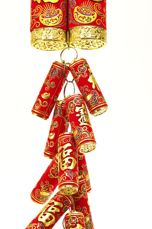 fire crackers: Chinese New Year Decoration,Fire Crackers on White with Copy Space