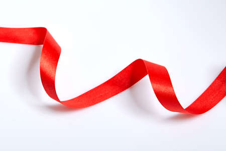 ribbon background: Red ribbon on a white background with clipping paths