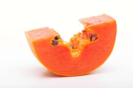 flesh colour: papaya and slice isolated on white background