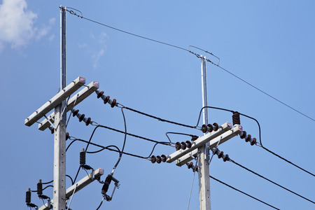electric line: electric line on blue sky background Stock Photo