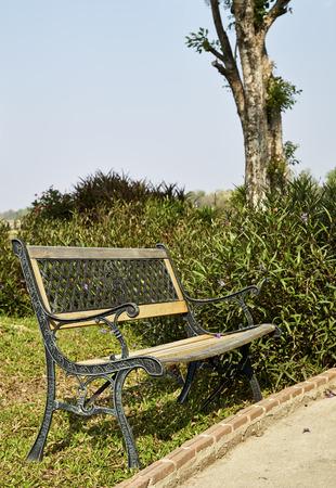 peacefull: Romantic bench in peacefull park in springBench in Park Stock Photo