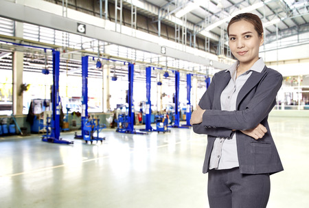 car detail: Woman staff standby for taking care of Customer about car detail. Stock Photo