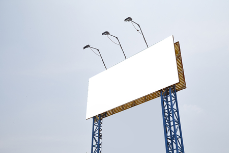 Blank billboards against a bright blue sky Stock Photo