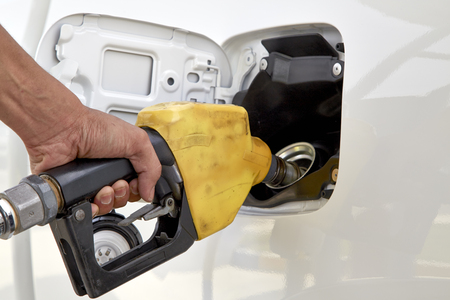 refueling: Car refueling on a petrol station Stock Photo