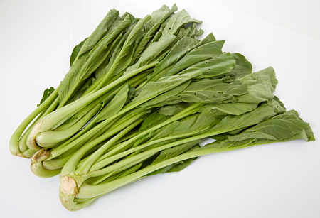 chinese spinach: Spinach on white background, Chinese mustard green on white background Stock Photo