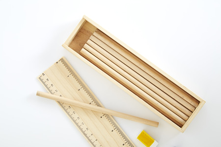 pencil box: Wooden pencil box, Wooden box  on white background.