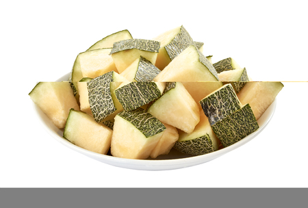 Melon slices in plate on white background, stack imag