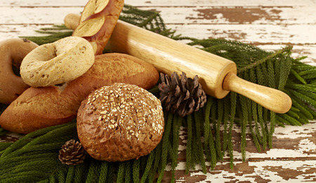 Festive Christmas Bread on old white wooden table Stock Photo