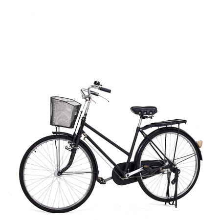 public servants: Black bicycle old maid for second hand from Japan, isolated on white background Stock Photo