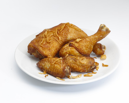 Top View of A white Plate of Crispy Fried Chicken Isolated on A White Background.