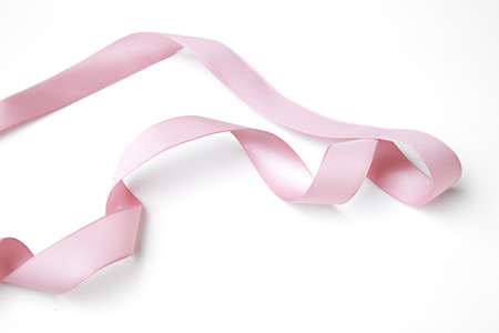 shimmery: pink ribbon border with curls isolated on white
