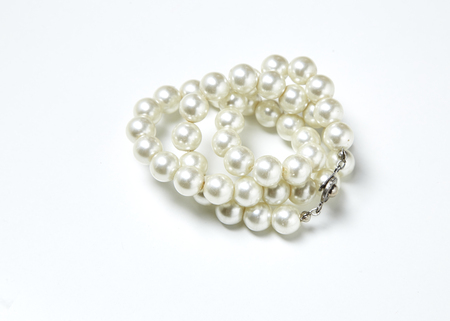 pearl necklace isolated on white, white pearls