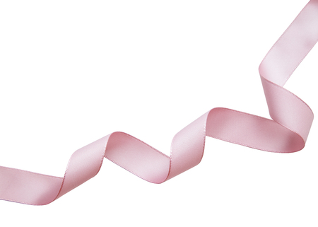 Pink ribbon on a white background with clipping paths.