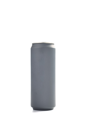 metalic: Grey paint aluminum can isolated white background Stock Photo