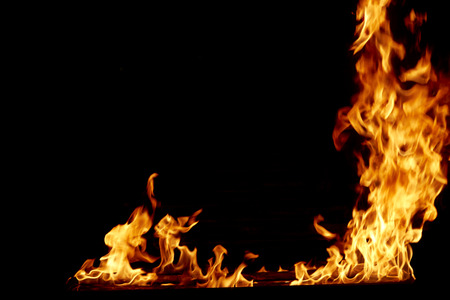 frame fire burn on a black background