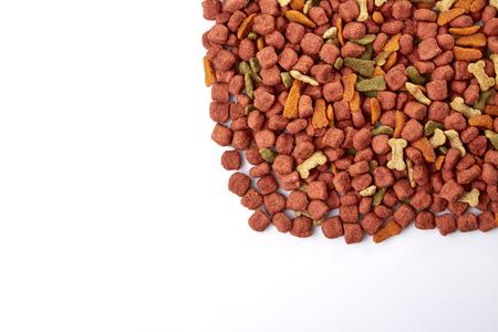 Pile of dog food isolated on white