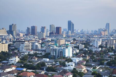 The high angle of houses and buildings with the haze of land transport in Thailand is growing. Bangkok Thailand