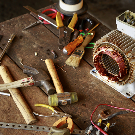Repair Old Disassemble Electric Motor Show Wiring Coil During ...
