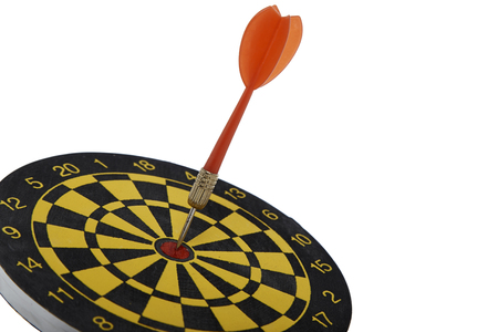 holed: target dart with red arrow isolated on white background , goal background to target marketing concept Stock Photo