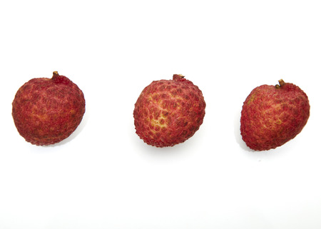 Set of fresh lychees fruit, Collection of fruits on white background