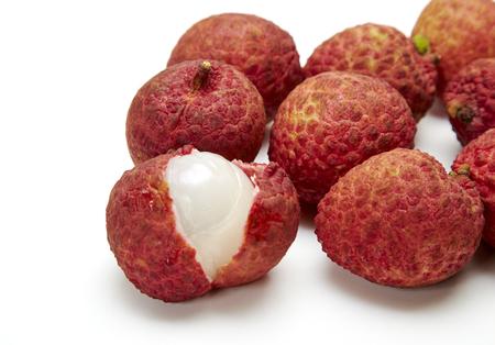 lychee, Fresh lychees isolated on white background Stock Photo
