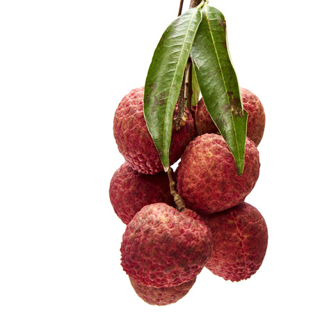 Close up Fresh lychees with leaves on isolated on white background Stock Photo