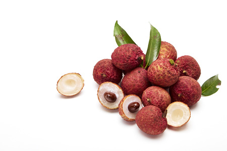 bunch of fresh Lichi or lychees isolated on White background Stock Photo
