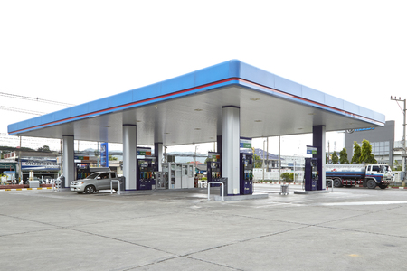 Kanchanaburi, July 28, 2017: PTT gas station In Amphoe Mueang Kanchanaburi, Kanchanaburi, Thailand, It is the largest oil company in Thailand.