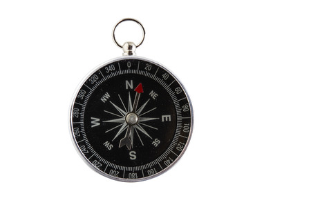 Frontal view of isolated compass on white background