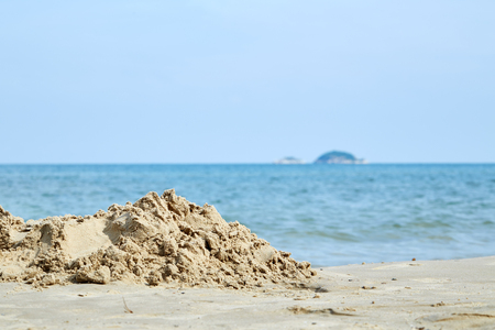 concep: Sand castle on the beach The back is the sea for everything concep