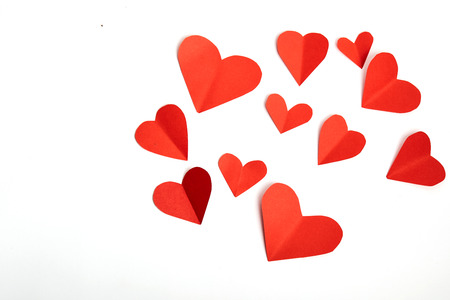 Red paper hearts isolated on white background Stock Photo