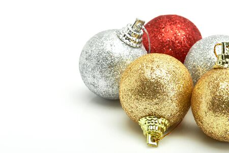 beautiful red gold and silver Christmas balls isolated on white Stock Photo