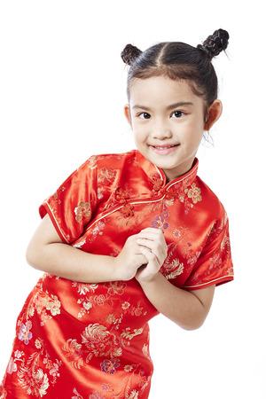 작은 아시아 아이가 중국 전통 드레스, 중국 설날 스톡 콘텐츠