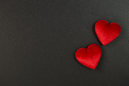 red heart felt black background. Valentines Day card. declaration of love texture Imagens