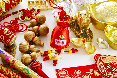 Chinese new year dog festival decorations , (Chinese characters in the article refer to good luck, wealth, money flow)means fortune and luck