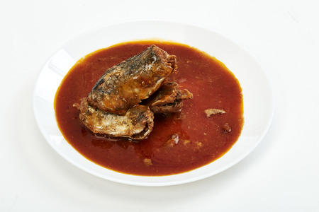 Mackerel in Tomato Sauce on white background
