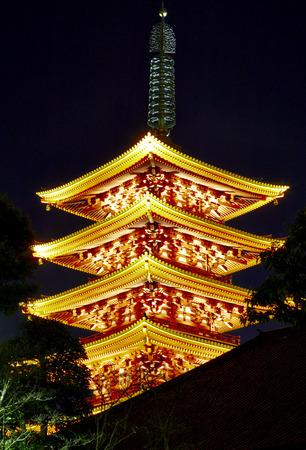 Sensoji temple at night, Tokyo, Japan, travel