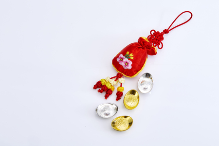 Happy Chinese new year 2018 with red bag and Gold money