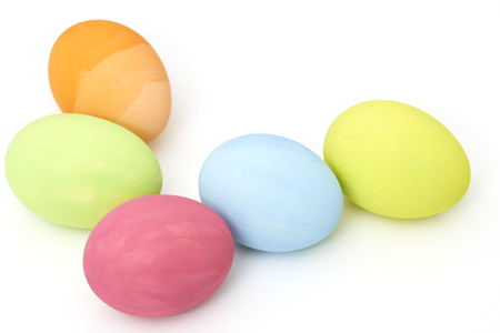 Easter Festival Backgrounds with colored eggs on white background with copy space, Minimal Concept