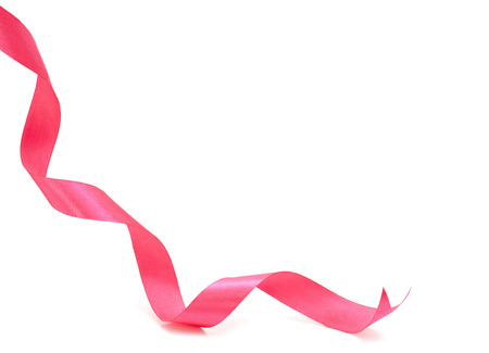 Pink curly ribbon isolated on white background