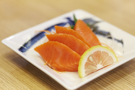 Japanese style seafood sushi set with a variety of raw fresh fish
