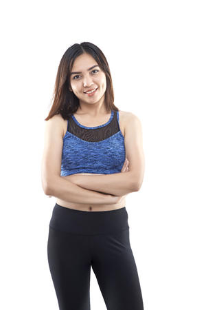 Sports and exercise will give one good health and strength. Asian woman smiling sports bras outfit. Beauty face and natural makeup isolated over white background