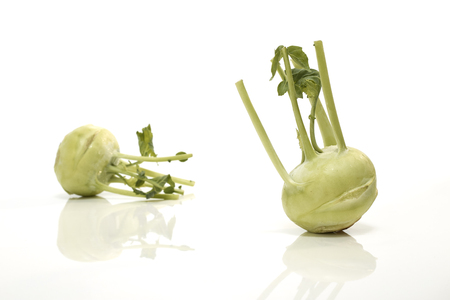 Two trimmed kohlrabi isoalted on a white background Stok Fotoğraf