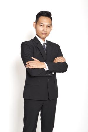 Handsome asian young business man on white background, Concept dedicated