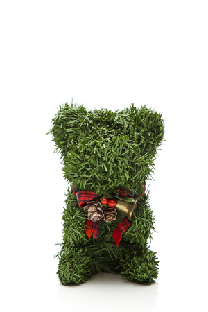 Tree teddy bear green decorate christmas on white background