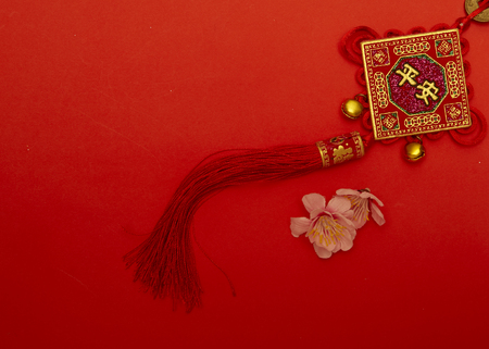 Chinese new year 2020 ornament on red paper with Chinese letter FU meaning meaning fortune or good luck, gold ingot, Chinese lamp